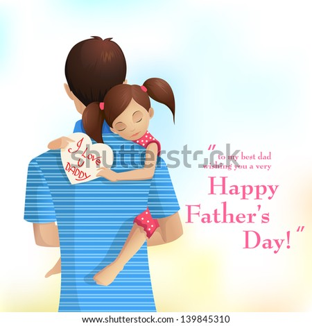 easy to edit vector illustration of father holding daughter in Father's Day