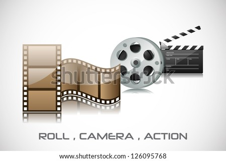 easy to edit vector illustration of film reel and clapper board - stock vector