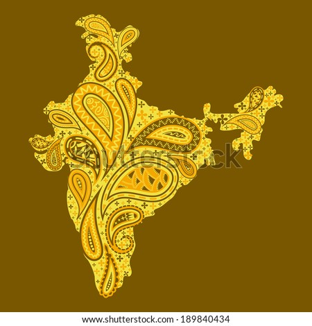 easy to edit vector illustration of floral map of India - stock vector