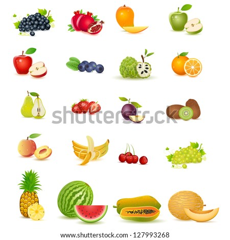 easy to edit vector illustration of fresh fruit with slice - stock vector