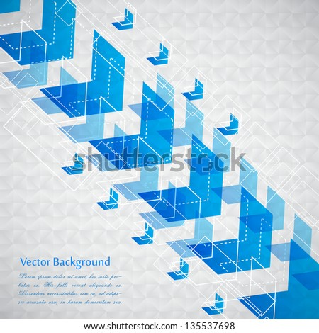 easy to edit vector illustration of futuristic background with arrow - stock vector