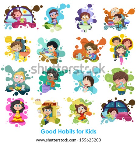 easy to edit vector illustration of good habits chart - stock vector
