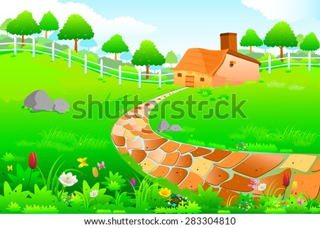 easy to edit vector illustration of  Green landscape amidst countryside
