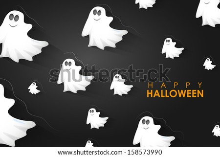 easy to edit vector illustration of Halloween Background with flying boo ghost - stock vector