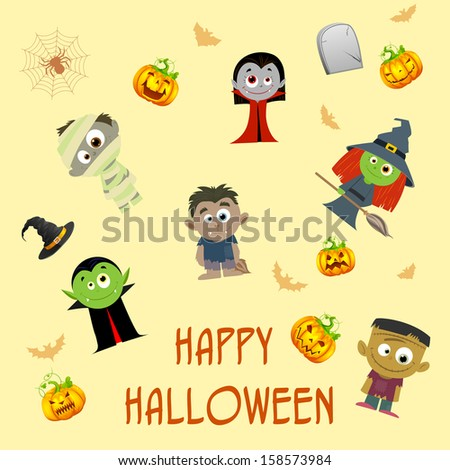 easy to edit vector illustration of Halloween patterned background - stock vector