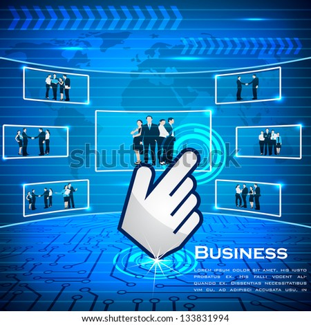 easy to edit vector illustration of hand cursor selecting business team - stock vector