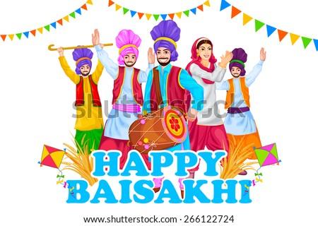 easy to edit vector illustration of Happy Baisakhi celebration - stock vector