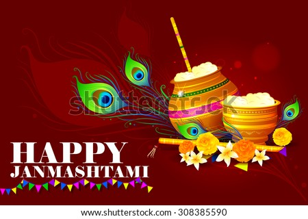 easy to edit vector illustration of Happy Krishna Janmashtami - stock vector