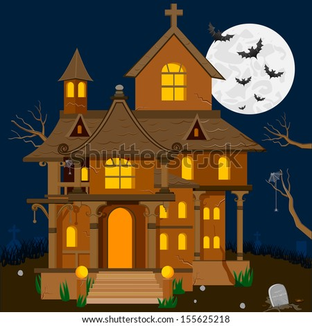 easy to edit vector illustration of haunted house in Halloween background - stock vector