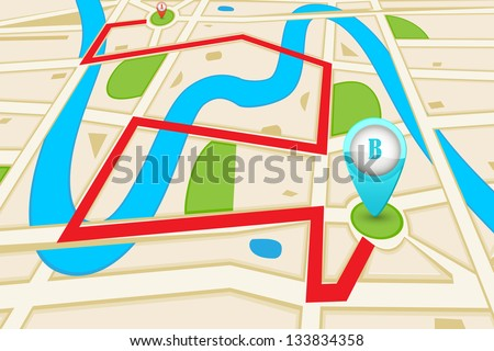 easy to edit vector illustration of highlighted route in road map - stock vector
