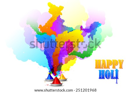 easy to edit vector illustration of Holi Colors forming shape of India - stock vector
