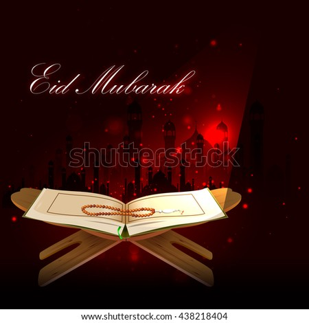easy to edit vector illustration of holy book Koran in Happy Eid background - stock vector
