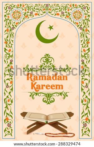 easy to edit vector illustration of holy book Koran in Ramadan Kareem (Happy Ramadan) background - stock vector
