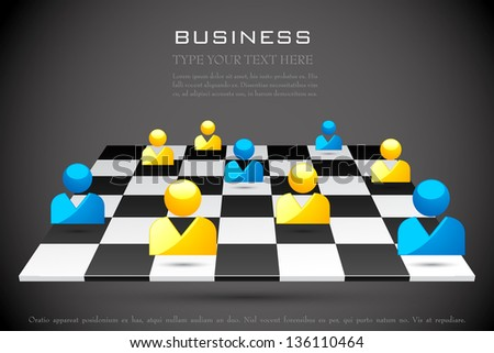 easy to edit vector illustration of human icon on chess board - stock vector