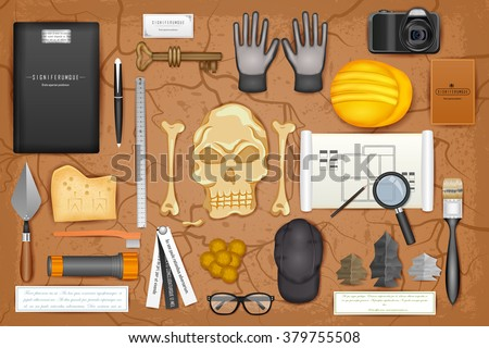 easy to edit vector illustration of identity branding mockup for archaeology - stock vector