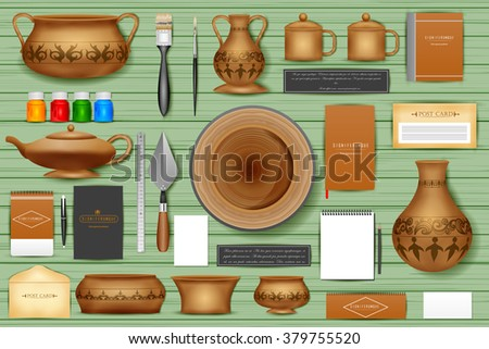 easy to edit vector illustration of identity branding mockup for pottery - stock vector