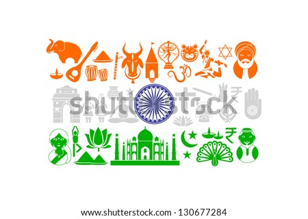 easy to edit vector illustration of Indian flag with cultural object - stock vector