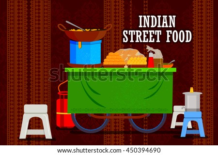 easy to edit vector illustration of Indian street food cart representing colorful India - stock vector