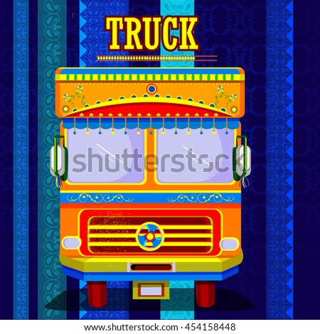 easy to edit vector illustration of Indian Truck representing colorful India - stock vector
