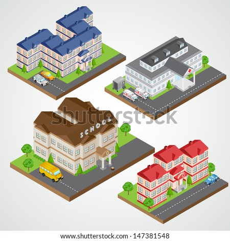 easy to edit vector illustration of isometric building - stock vector
