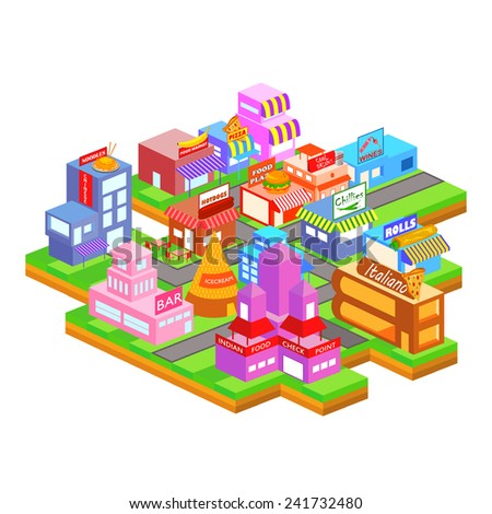 easy to edit vector illustration of isometric building of food industry - stock vector