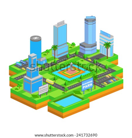 easy to edit vector illustration of isometric business building - stock vector