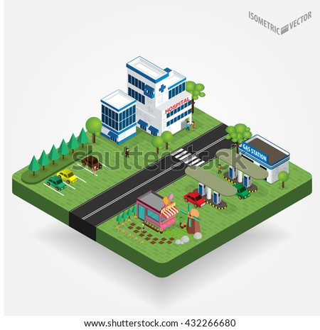 easy to edit vector illustration of isometric cityscape
