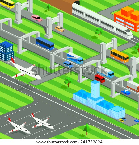 easy to edit vector illustration of isometric transportation system of city