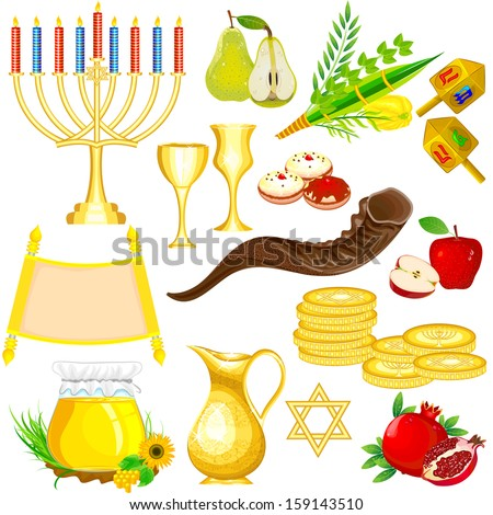 easy to edit vector illustration of Israel Festival Object - stock vector