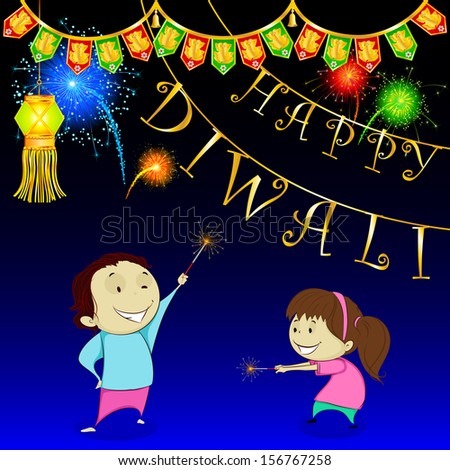 easy to edit vector illustration of kids playing with firecracker in Diwali - stock vector