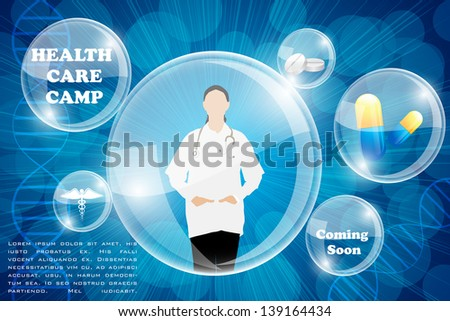 easy to edit vector illustration of lady doctor on medical background - stock vector
