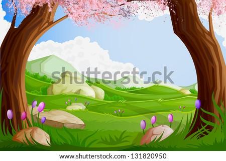 easy to edit vector illustration of landscape scene - stock vector
