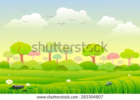 easy to edit vector illustration of Landscape with tree
