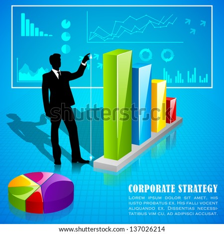 easy to edit vector illustration of man analysing business statistics - stock vector