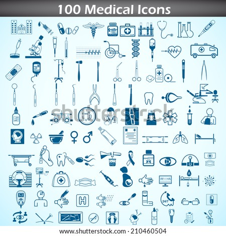 easy to edit vector illustration of medical icon set - stock vector