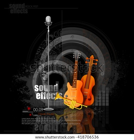 Easy To Edit Vector Illustration Of Music Background With Guitar And Saxophone