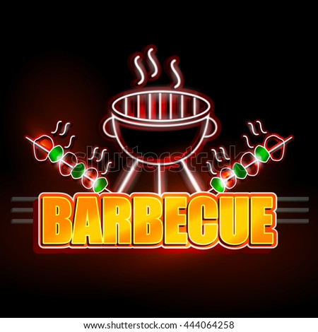 easy to edit vector illustration of Neon Light signboard for Barbecue - stock vector