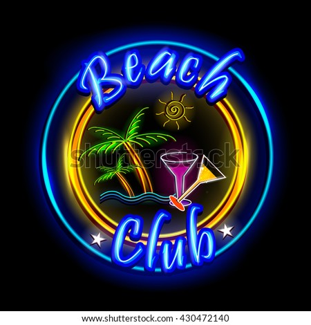 easy to edit vector illustration of Neon Light signboard for Beach Club - stock vector
