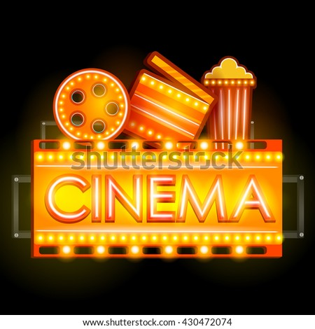 easy to edit vector illustration of Neon Light signboard for Cinema banner - stock vector