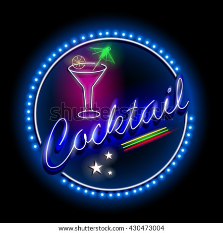 easy to edit vector illustration of Neon Light signboard for Cocktail shop - stock vector