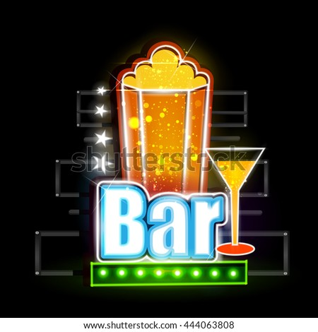 easy to edit vector illustration of Neon Light signboard for Drink Bar - stock vector
