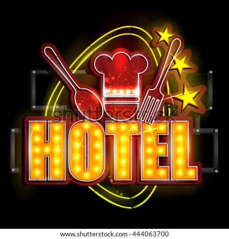easy to edit vector illustration of Neon Light signboard for Hotel - stock vector