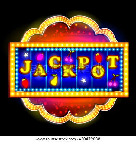 easy to edit vector illustration of Neon Light signboard for Jackpot - stock vector