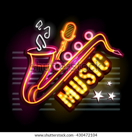 easy to edit vector illustration of Neon Light signboard for Music - stock vector