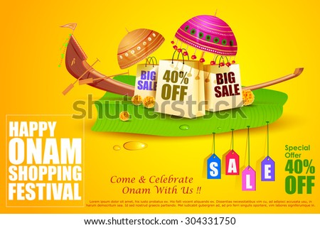 easy to edit vector illustration of Onam Sale and promotion offer - stock vector