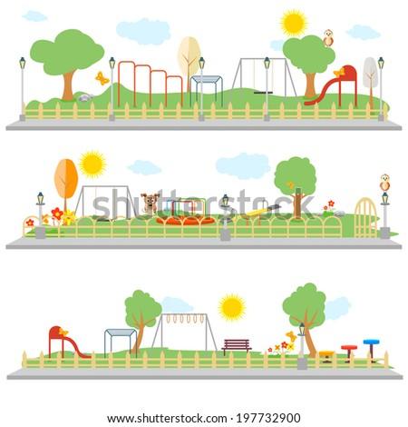 easy to edit vector illustration of park scene - stock vector