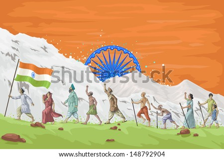 easy to edit vector illustration of patriot marching with Indian flag - stock vector