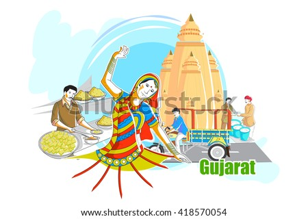 easy to edit vector illustration of people and culture of Gujarat, India - stock vector