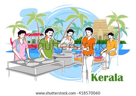 easy to edit vector illustration of people and culture of Kerala, India - stock vector