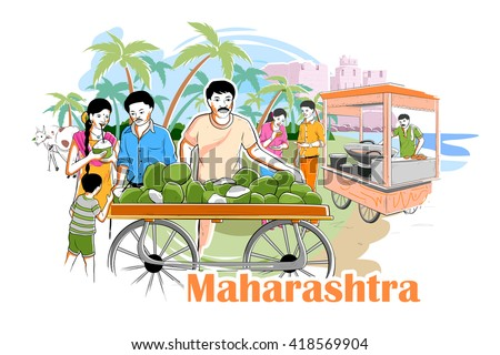 easy to edit vector illustration of people and culture of Maharastra, India - stock vector
